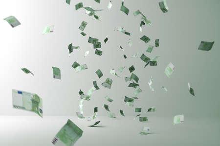 Geld regen. Vliegend geld. Vliegrekeningen in een kamer Stockfoto
