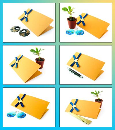 Collage with postcards on blue and yellow background Stock Photo - 9946951