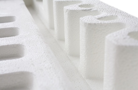 foam box: closeup of Polystyrene padding for product packaging