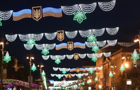 Neon lights at night on Kreschatik st., Kiev, Ukraine Stock Photo - 10354363