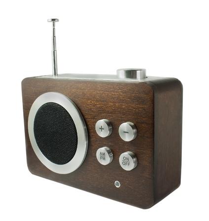 Le récepteur de radio fashioned vieux isolé sur fond blanc Banque d'images
