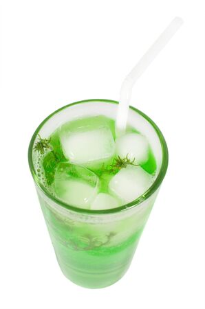 Green cocktail with herb isolated on white background, top view photo