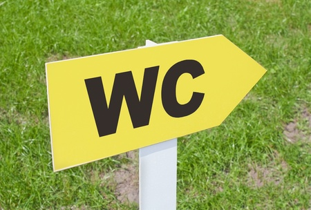 Yellow WC sign pointing direction on a green grass