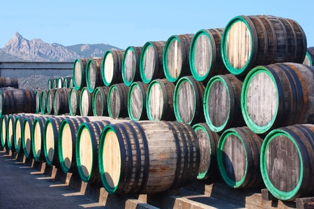 A pile of wine barrels on madeira wine-yard photo