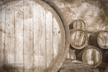 wineries: Wine barrels  in vintage style Stock Photo
