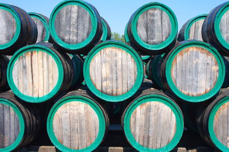 Front view of wine barrels on madeira wine-yard photo