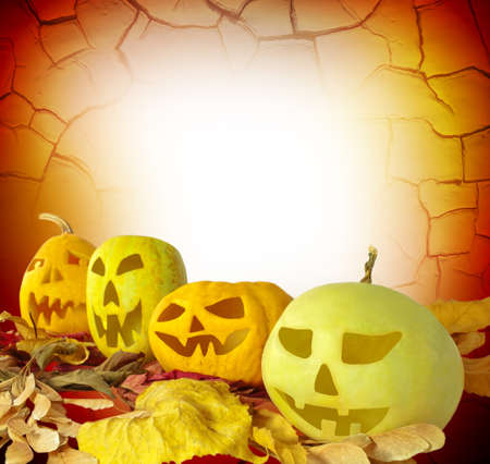 Halloween Pumpkins on abstract grunge background photo