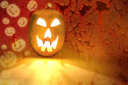 Halloween Pumpkin on abstract grunge background photo