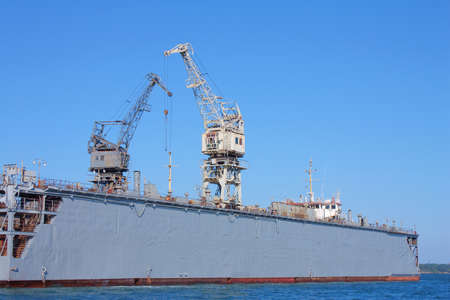 shiprepair: huge seaport cranes  in Kerch, Crimea, Ukraine