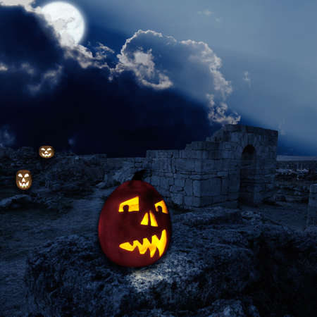 Orange pumpkins outside with ancient ruins Stock Photo - 10905532