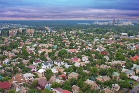 Aerial view of beautiful private houses in Ukraine photo