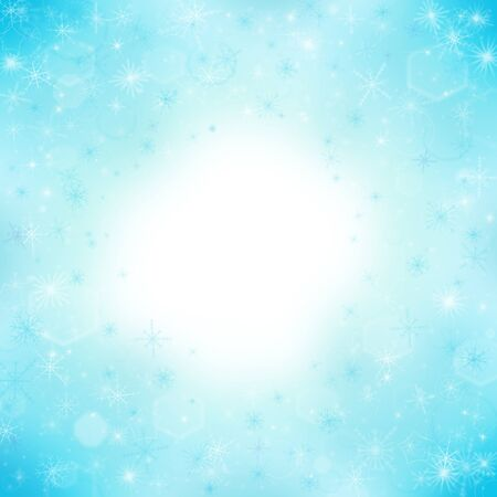 Blue abstract winter background with snowflakes photo