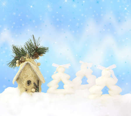 Firs, house and northern lights on sparkle Christmas background Stock Photo - 11186667