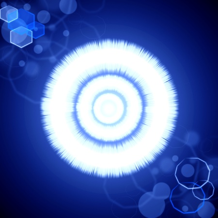 Abstract bright blue radiance background with lens flare  photo