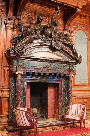 vintage mansion: classic fireplace in the Polovtsov mansion - Architects house, Saint Petersburg, Russia Editorial