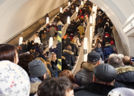 SAINT PETERSBURG - DECEMBER 31: Admiralteyskaya station in St. Petersburg subway in 15 minutes before New 2012 year on December 31, 2011 in St. Petersburg, Russia