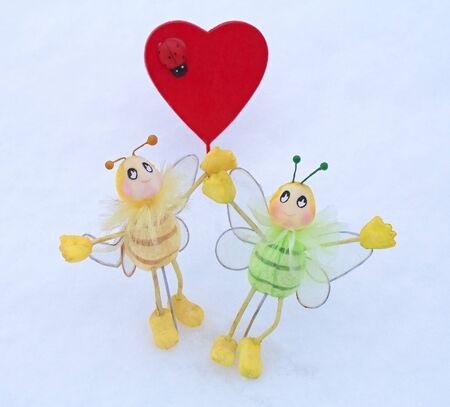 red heart - Valentine with ladybug and butterfly in the snow photo