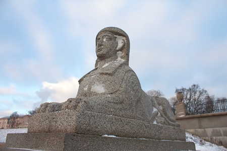 Antique Egyptian sphinx on quay of the Neva river. Saint-Petersburg, Russia photo