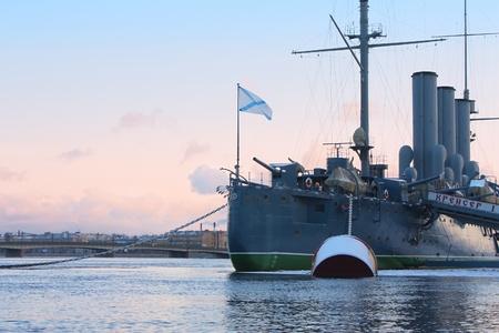 Close up of Legendary cruiser Aurora in winter day. Warship museum.  St. Petersburg, Russia