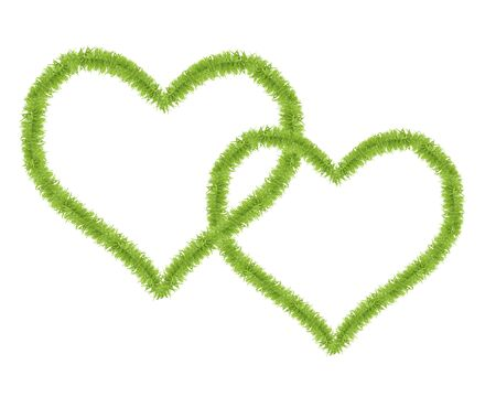 Two hearts shaped from small green grass isolated on white background photo