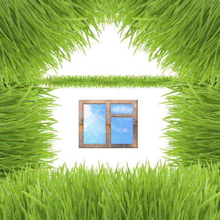 Environmentally friendly house made up of grass isolated on white background photo
