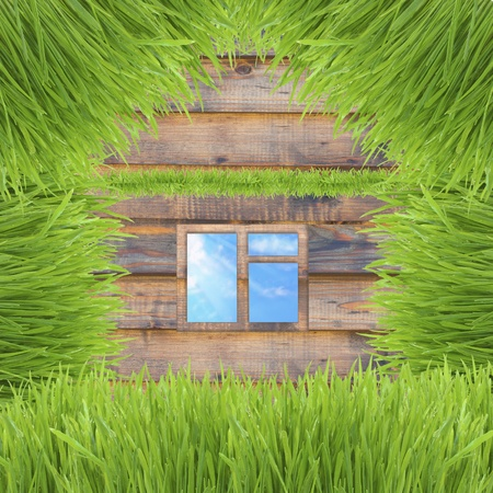 Environmentally friendly house made up of grass on wooden background photo
