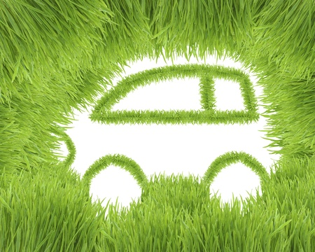 The ecological car from green grass isolated on a white background
