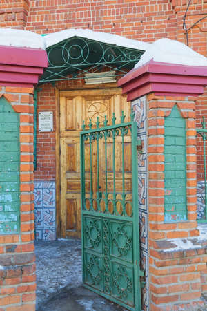 Close up of ancient wooden doors in Burnay mosque, Kazan, Republic of Tatarstan, Russia