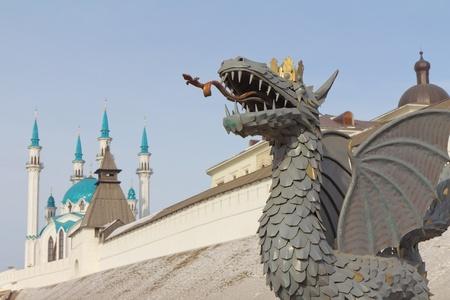 kazan: The Kazan Kremlin and dragon Zilant - the symbol of the city. Kazan, Republic of Tatarstan, Russia