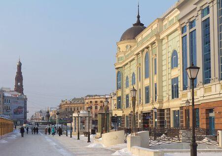KAZAN - FEB. 22, 2012 Modern Peterburgskaya street in the center of Kazan, Republic of Tatarstan, Russia on February, 22 Stock Photo - 13072329