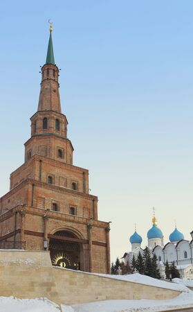 The Soyembika tower and Cathedral Of The Annunciation in the Kazan Kremlin, Republic of Tatarstan, Russia photo