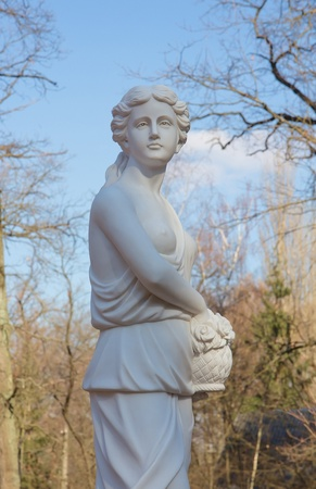 Woman sculpture  in the Bucha park, Ukraine