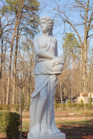 Woman sculpture  in the Bucha park, Ukraine