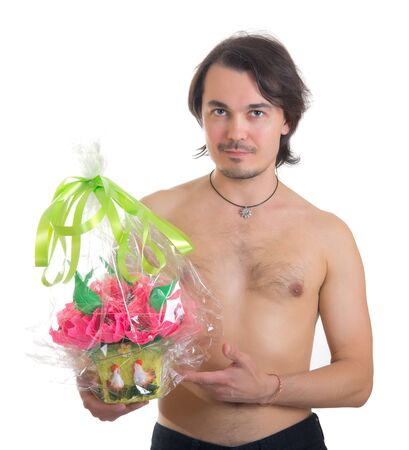 handsome middle aged man with a bouquet of  artificial flowers isolated on white background Stock Photo - 13208197