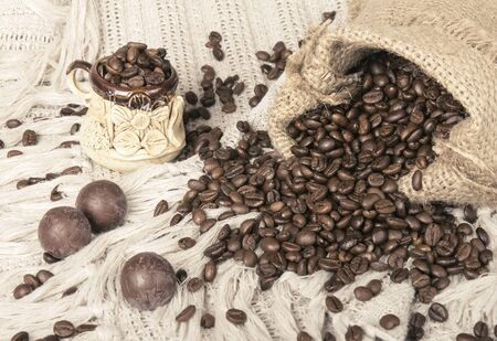 Close up of a sweets and Coffee beans in bag photo