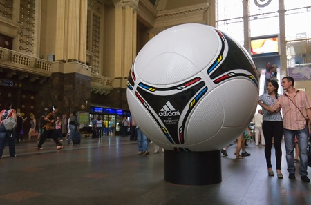 KYIV, UKRAINE - MAY 08: tango 12, the official matchball of EURO 2012 POLAND - UKRAINE, on the Central Railway station in Kyiv, Ukraine on May 08, 2012. Kiev gets ready to host UEFA EURO Championship in 2012