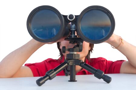 view through: Close up of a man with binoculars isolated on white background
