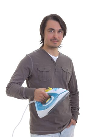 Happy young man ironing,  isolated on white background Stock Photo - 13743207