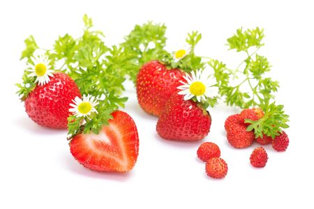 Red fresh strawberries with leaves and flowers on a white background. Stock Photo