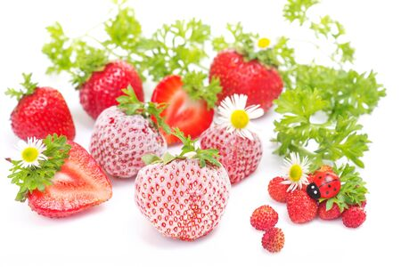 Close up of fresh and frozen strawberries on white background photo