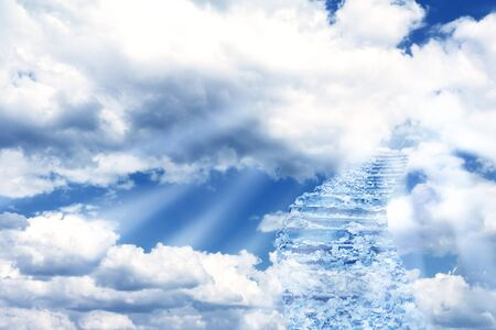 stairway to heaven: Fantasy scenery with magic stairs in sky Stock Photo