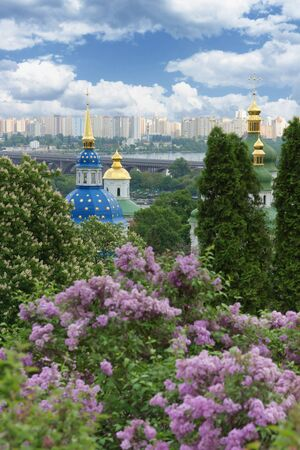 Spring in city. Beautiful Botanical Garden in Kyiv, Ukraine photo