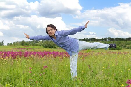 Businessman flying like a bird in spring meadow Stock Photo - 14426166
