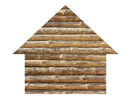 House icon made out of wood, isolated on white photo