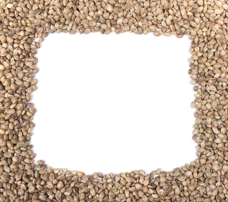 hemp: Hemp seeds frame on a white background Stock Photo