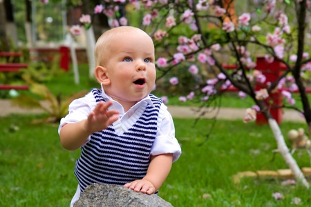 portrait of a kid clapping his hands against a nature background photo