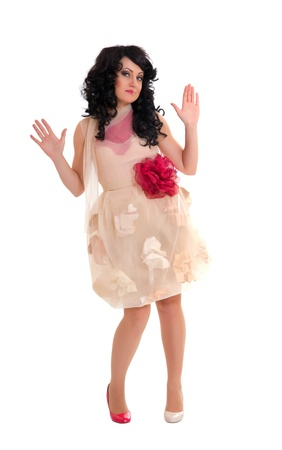 woman in doll style. Creative make-up.Fantasy dress.Isolated on white background photo