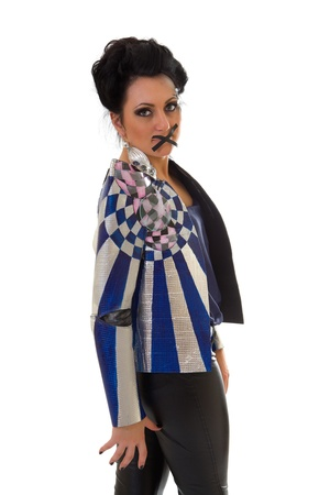 stop talking! young woman in fantastic jacket with her mouth sealed with black tape Stock Photo - 15921111