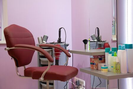 interior of luxury beauty salon - workplace hairdresser photo