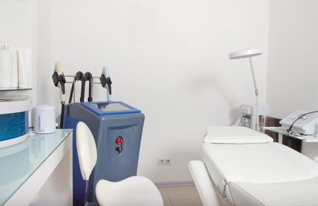 epilation: Interior and equipment in modern cosmetology clinic